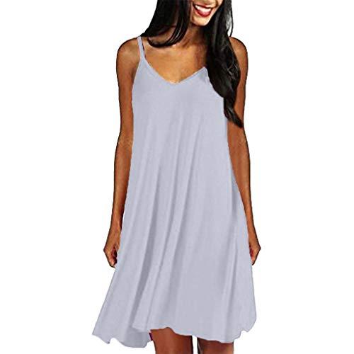 iLUGU Women's Casual Plain Simple T-Shirt Loose Summer Dresses Sundress