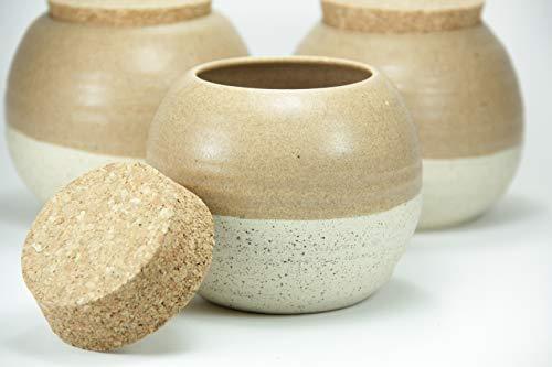 (Set 3 Ceramic Jar, Coffee Jar, Tea Jar, Storage Container, Coffee Container, Ceramic Jar With Lid, Pottery Jar Cork Lid)