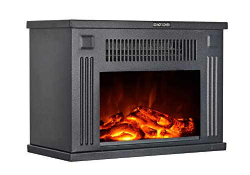 Cheap GMHome 14 Inches Mini Electric Fireplace Tabletop Space Heater Freestanding Fireplace Log Fuel Effect 1200 W Metal Black Black Friday & Cyber Monday 2019