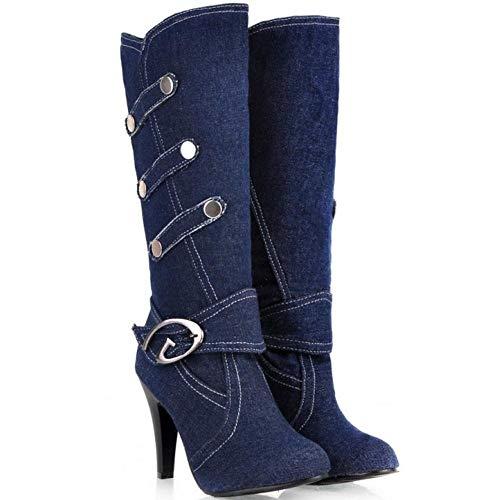 Dark Fashion Heel High Long Coolcept Women Blue Boots 4qxwn5Y5t