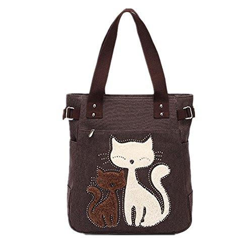 YZSKY Women Canvas Handbag Cartoon Cat Big Tote Bag (Coffee)