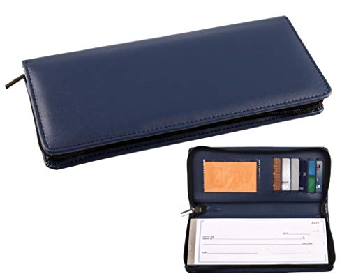 Clarke Cover - Business Size and Travelers Check Checkbook Cover PU Leather with Zipper and Built in Storage Pockets for Side Tear Checks (Navy Blue)