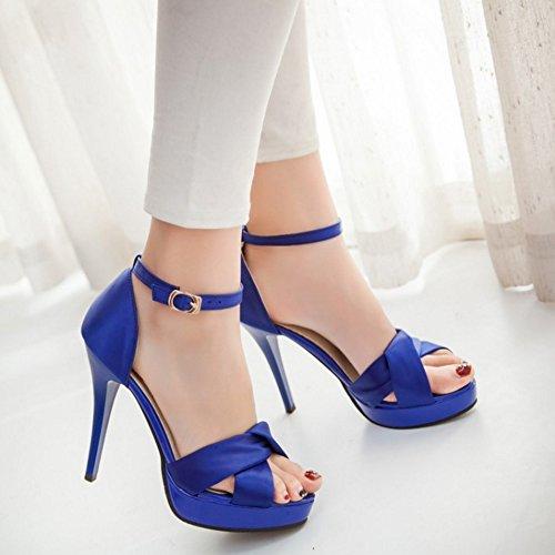 COOLCEPT Damen Mode Knochelriemchen Sandalen Open Toe Stiletto Schuhe Blau