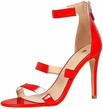10e5af7ae006 Memela Clearance sale Women's Sandals Open Toe Stiletto High Heel Ankle  Strap Sandals for Dress Wedding