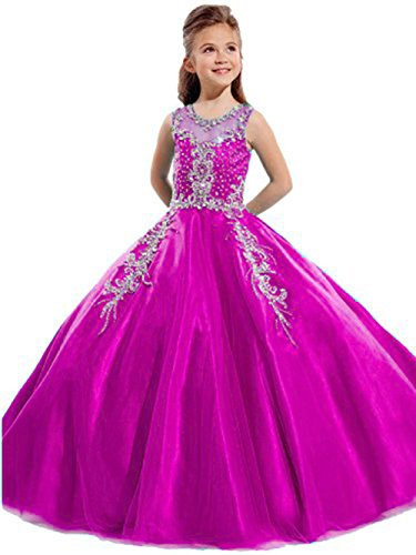 Aisha Girls' Jewel Beading Ball Gown Girls Pageant Dress Christmas 8 US Fushcia (Christmas Pageant Dresses)