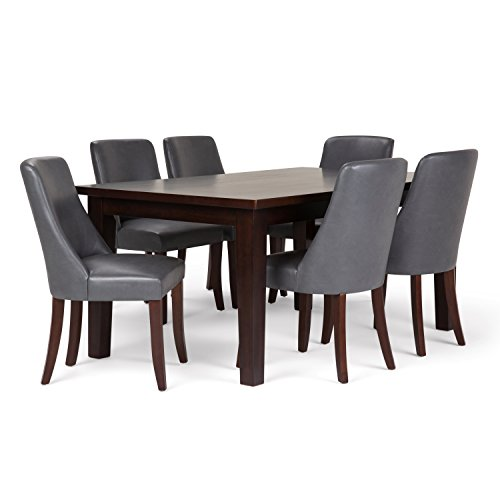 Simpli Home AXCDS7WA-STG Walden Contemporary 7 Pc Dining Set with 6 Upholstered Dining Chairs and 66 inch Wide - Set Stg
