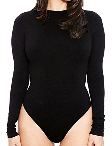 Womens Sexy Bodysuit with Sleeves Round Neck Jumpsuit Tops Black Leotard XL