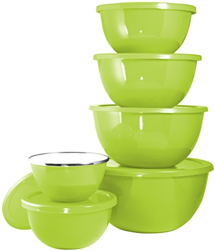 Calypso Basics by Reston Lloyd 12-Piece Enamel on Steel Bowl Set, Lime