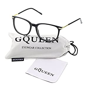 Glasses Queen 201579 Fashion Metal Temple Horn Rimmed Clear Lens Glasses,Shiny Black