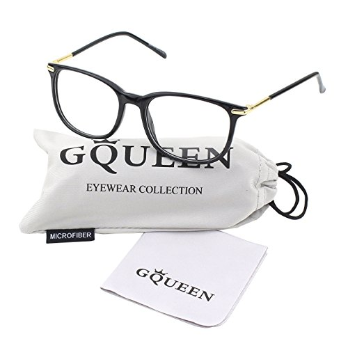 GQUEEN 201579 Fashion Metal Temple Horn Rimmed Clear Lens Glasses,Shiny - Clear Nerdy Fake Glasses