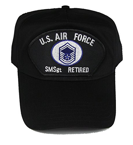 Air Cap Force Insignia (U S AIR FORCE SMSgt RETIRED with SENIOR MASTER SERGEANT INSIGNIA PATCH HAT - Black - Veteran Owned Business)