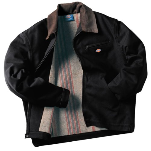 Dickies Men's Rigid Duck Blanket Lined Jacket, Black, Large-Regular