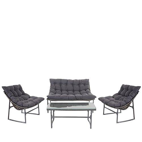 2-1-1 Poly-Rattan Garten-Garnitur Tunis, Sitzgruppe Lounge-Set Alu ~ anthrazit, Kissen anthrazit