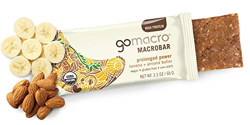 GoMacro MacroBar, Organic Vegan Protein Bar, Banana + Almond Butter, 2.3 oz (Pack of 12)