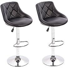 BestMassage PU Leather Bar Stools Modern Swivel Dinning Kitchen Chair,Set of 2