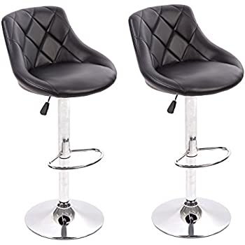 BestMassage PU Leather Bar Stools Modern Swivel Dinning Kitchen Chair,Set  Of 2