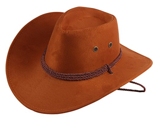 UwantC Mens Faux Felt Western Cowboy Hat Fedora Outdoor Wide Brim Hat with Strap Tangerine Yellow -