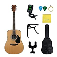 HUA WIND AcousticGuitarPackage 41inch Full Size 4/4 Spruce Top Guitar withGig Bag,Tuner,Capo,Steel String,Cleaning Cloth ,Picks,Guitar Hanger-Natural Spruce (Full Size Dreadnought)