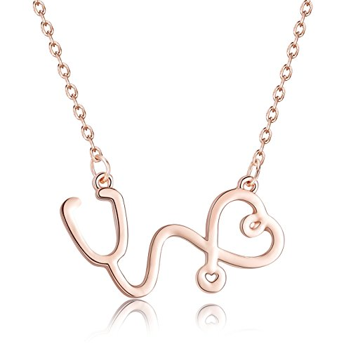 Rosa Vila Stethoscope Inspired Necklace, Thoughtful Gift For Nurses, Physician Assistants, and Doctors, Medical Student Jewelry, Nurse Heart Necklace (Rose Gold Tone) - Future Jewelry