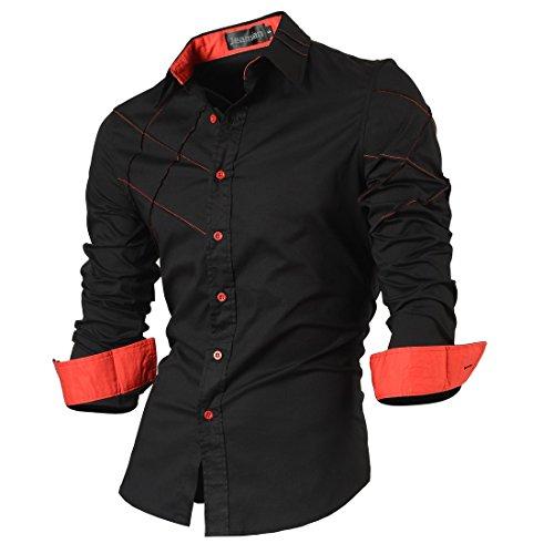 2028 Long Men Sleves Fashion 2028 Slim Causal black Uomo Shirts Fit Maniche Lunghe Camicie Jeansian Moda XxSTOPxv