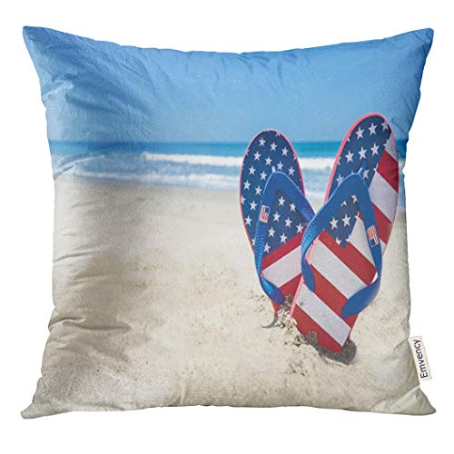 UPOOS Throw Pillow Cover Blue July Patriotic USA with Flip Flops on The Sandy Beach Red 4Th Decorative Pillow Case Home Decor Square 20x20 Inches Pillowcase
