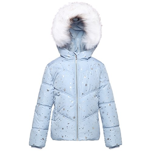 Rokka&Rolla Girls' Heavy Padded Water-Resistant Hooded Thickened Quilted Puffer Jacket (XL(14-16), Blue Fog with Silver Star Print) (Best Cheap Snow Jackets)