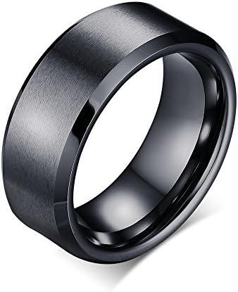 アクセサリー タングステン リング フラット 指輪 黒 ブラックリング マッド質感 高級 平打ち 幅 8mm シンプル 指輪