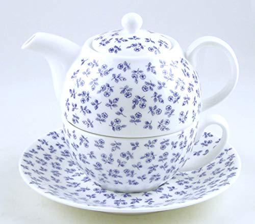 Fine English Bone China Tea for One - Teapot and Cup Set - English Chintz - Petite Blue Rose - Roy Kirkham, England