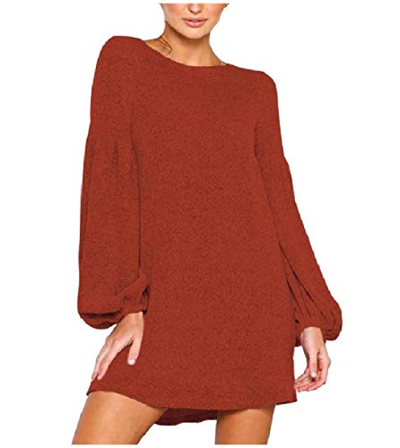 Bishop Sleeve Style Women Splice Baggy Orange Solid Coolred Colored Dresses xqfSxn