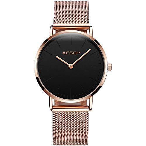 Aesop Watches for Women Waterproof Ultra-Thin Fashion Dress Quartz Rose Gold Strap Quartz Analog Watch Ladies Wrist Watch