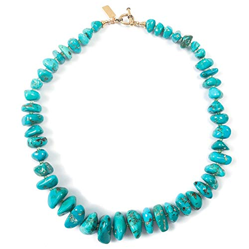 Large Natural Sleeping Beauty Turquoise Nuggets with Green Tsavorite Garnet Necklace - 17 Inches Long Handmade Necklace by Miller Mae Designs