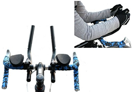 T-6061 Alloy Triathlon Aerodynamic Position Bike Handlebars for Road Mountain Bike Cycling Race Bicycle MTB Color Black FIVE FLOWER