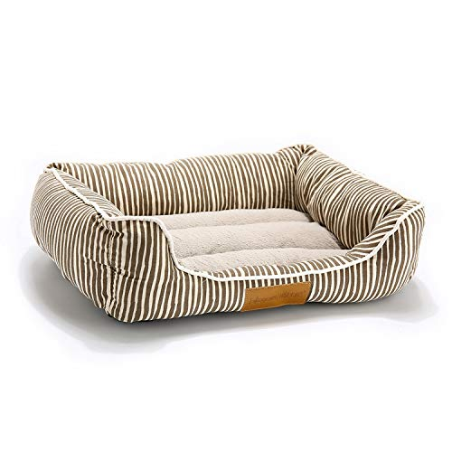 The fairy Pet Bed for Dogs Bench Soft Cats Lounger for Pet Hand Wash Dog Bed for Cats Durable Bench Pets Large Dog Beds,Square Brown Strip,XL 65 X 55 X 15 cm Disney Fairies Toy Bench