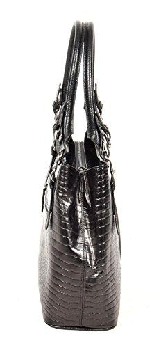 Damen Echte Schwarz Lederhandtasche Italienischer Designer Mode Schulter Kleid Bag - Nee