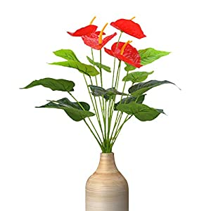 Artificial Flowers, Fake Flowers Plastic Flowers Bouquet Artificial anthurium for Home Garden Party Wedding Office Decoration 4