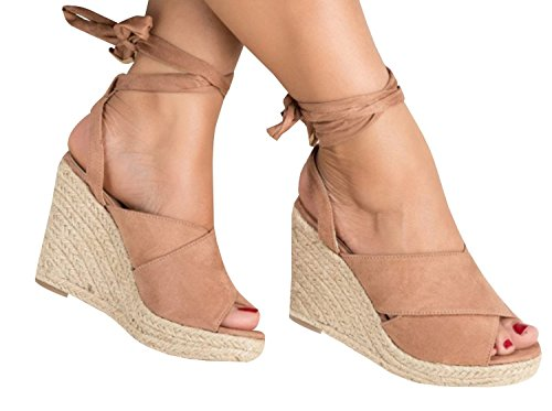 Ermonn Womens Lace up Wedge Sandals Espadrille Peep Toe Tie up Strappy Mid Heel Braided Sandals