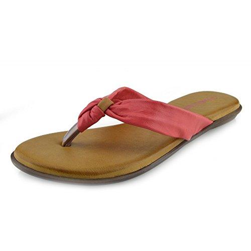 Kick Footwear - Damen Sandale mit Echt Leder Strand Flip Flops Sandalen Leder Schuhe Red - F0930
