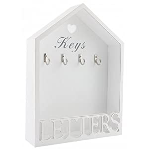 VINTAGE WHITE LETTER RACK & 4 KEY HOLDER HOOKS STORAGE SHABBY CHIC WALL MOUNTED