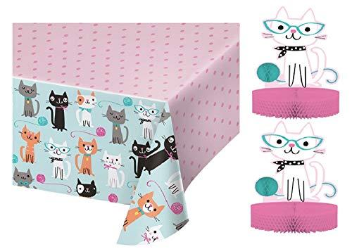(Cat Party Table Décor Bundle   Includes Tablecover and 2 Centerpieces)