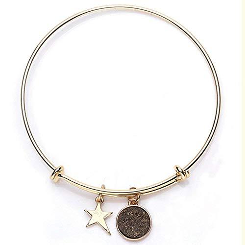 Alexa Angels Druzy 18K Gold Plated Wire Bangle Bracelet Star Charm