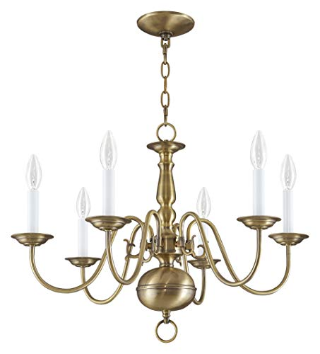 Livex Lighting 5006-01 Williamsburg 6 Light Antique Brass Chandelier Antique Brass Williamsburg 1 Light