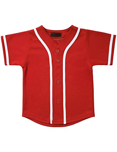 Button Down Jersey (Hat and Beyond Kids Baseball Jersey Button Down T Shirts Active Uniforms XXS-XL 5KSA0002 (04T, 5pu01_Red.WHI))