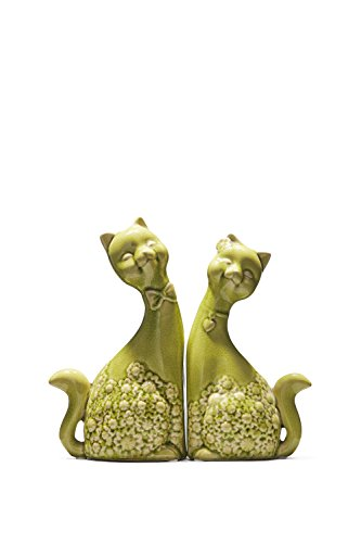 "Cat Couple Figurine Set Two Cats in Love Ceramic Figures Animal Home Decor 11"" 10"" (#1)"