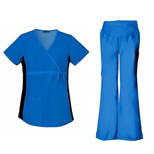 Cherokee Flexibles Women's Maternity 2892 Top & 2092 Pant Medical Uniform Scrub Set (Royal - Small)