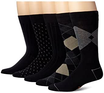 Dockers Men's 5 Pack Classics Dress Argyle Crew Socks, Black, Sock Size:10-13/Shoe Size: 6-12