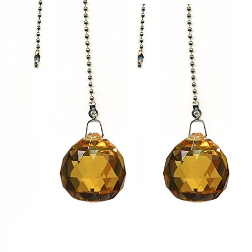 Magnificent Crystal 30mm Satin Crystal Ball Prism 2 Pieces Dazzling Crystal Ceiling FAN Pull Chains by CrystalPlace