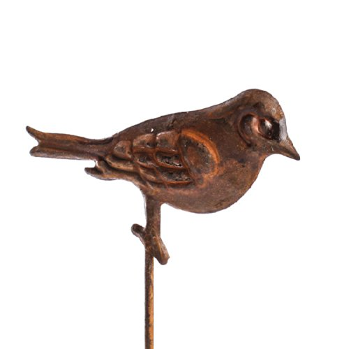 Group of 6 Tiny Rusted Metal Birds on Stakes for Decorating Gardens, Floral Arrangements and More ()