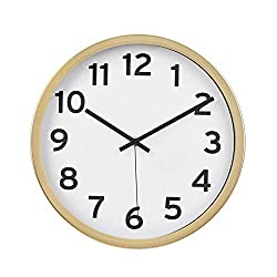 AmazonBasics 12 Numbered Wall Clock, Brass