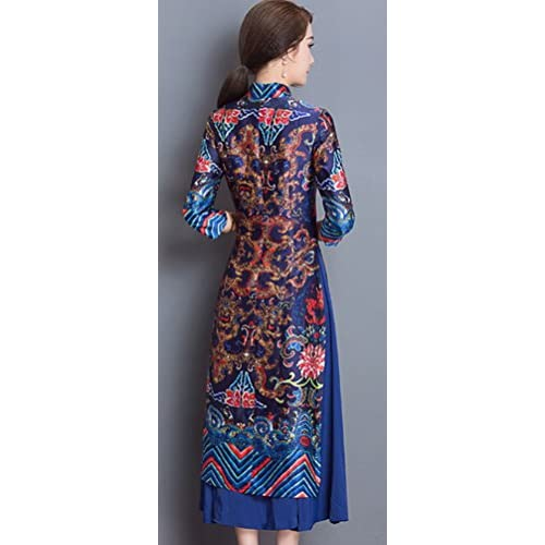 69ab40042796 Soojun Women's Fashion Floral Printed Two Layered Cheongsam Dress with  Sleeves lovely