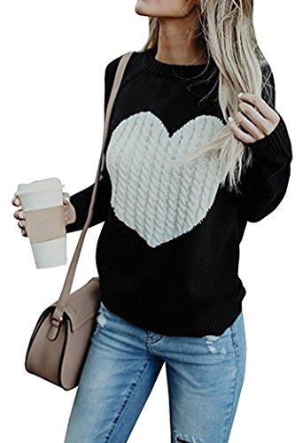 Yeesea Donna Autunno Inverno Elegante Sweatshirt Maglione Maniche Lunghe Casuale Sottile Pullover Nero